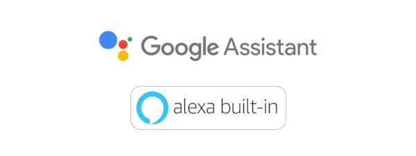 Logotipos do Google Assistente e Amazon Alexa.