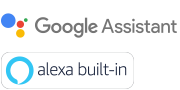 Logotipos do Google Assistente e Alexa integrados