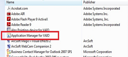 Application Manager for VAIO